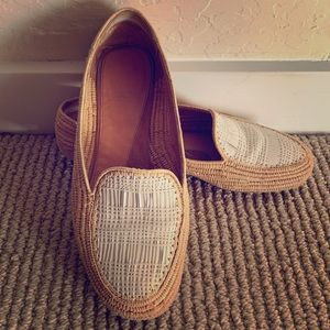 Robert Clergerie natural rafia and leather loafer